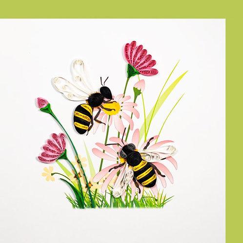Paper Quilling Karte, Blumenweise mit Bienen