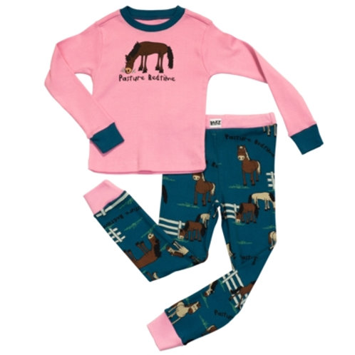 Pasture Bedtime Langarm Pyjama Kind, pink/dunkelblau