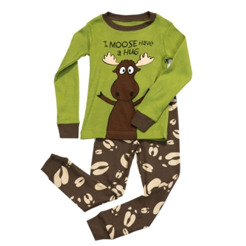 Moose Hug Langarm Pyjama Kind, hellgrün/braun