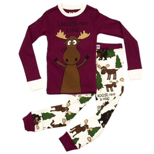 Moose Hug Langarm Pyjama Kind, weinrot/beige