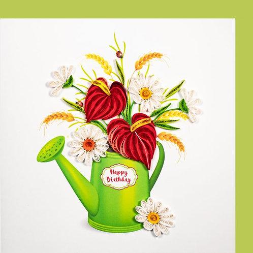 Paper Quilling Karte, Giesskanne mit Blumen, Happy Birthday