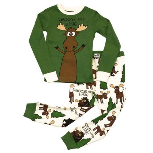 Moose Hug Langarm Pyjama Kind, grassgrün/beige