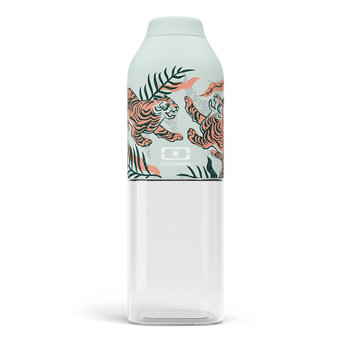 50 ml Trinkflasche aus Tritan, obere Hälfte mit einer hellgrünen Beschichtung mit kleinen Tiger Motiven