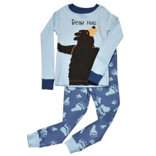 Bear Hug Langarm Pyjama Kind, blau