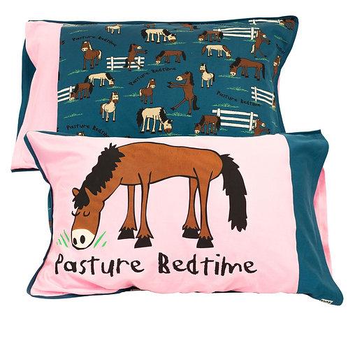 Pasture Bedtime Kopfkissenüberzug, pink/blau