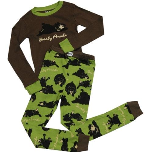 Bearly Awake Hug Langarm Pyjama Kind, braun/grün