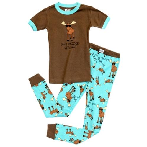 Don't Moose With Me Kurzarm Pyjama Kind, braun/hellblau