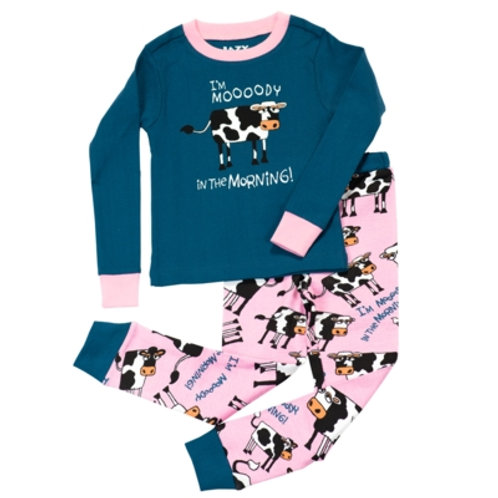 Mooody in the Morning Langarm Pyjama Kind, blau/pink