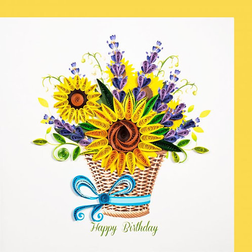 Paper Quilling Karte, Sonnenblumenkorb, Happy Birthday