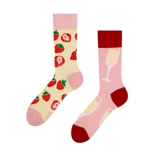 Champagner und Erdbeere Gute Laune Socken, Erwachsene
