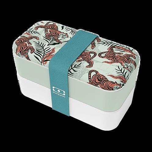 Hellgrüne und weisse, zweilagige Lunchbox mit kleinen Tiger Motiven und einem türkisen Band
