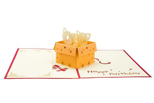 3D Pop-Up Karte, mittelgross, Katzen in Box, Happy Birthday