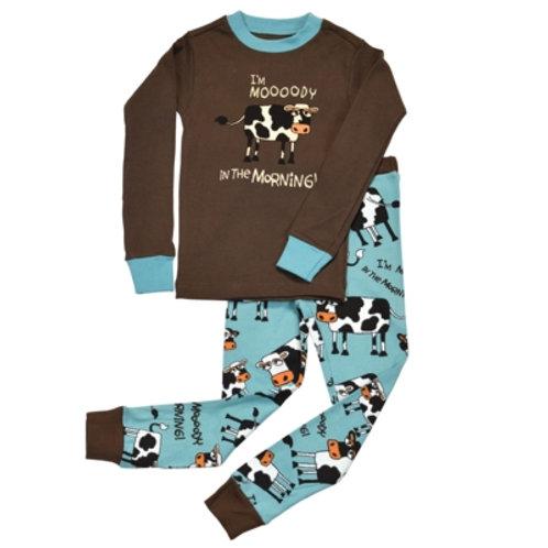 Mooody in the Morning Langarm Pyjama Kind, braun/hellblau