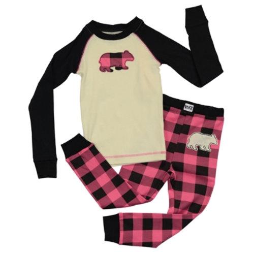Bear Plaid Langarm Pyjama Kind
