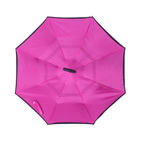 Invertierter Regenschirm, dunkelrosa