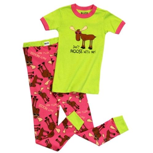 Don't Moose With Me Kurzarm Pyjama Kind, hellgrün/pink