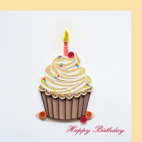 Paper Quilling Karte, klein , Cupcake, Happy Birthday
