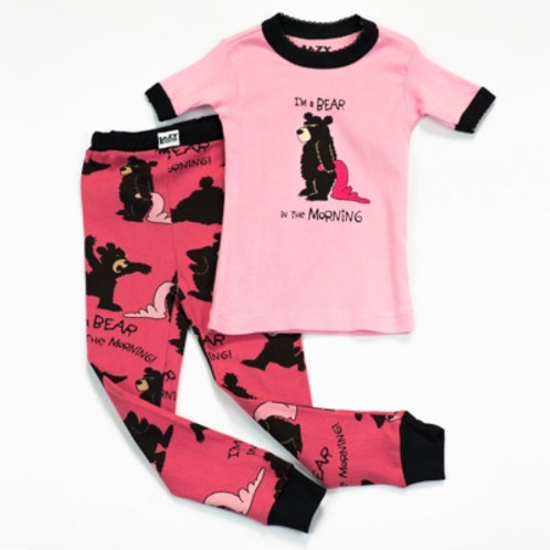 Bear in the Morning Kurzarm Pyjama Kind, pink