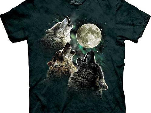 Drei Wölfe mit Mond