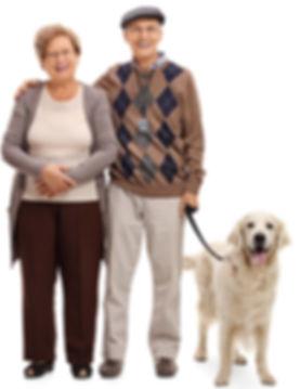 Happy Elderly Couple with Dog - LogicMar