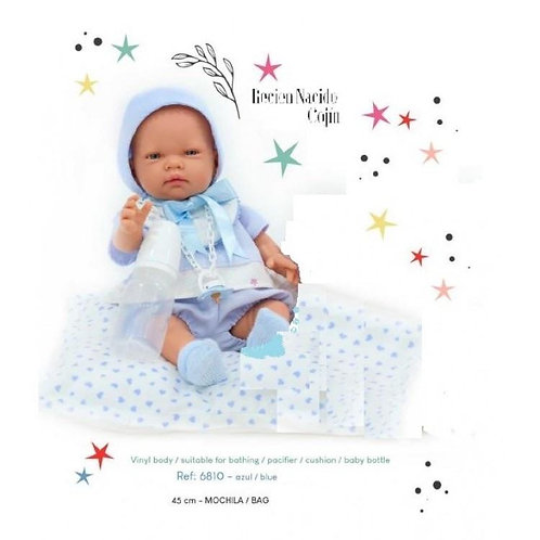 Blue Baby Doll with Cushion, Soother & Bottle