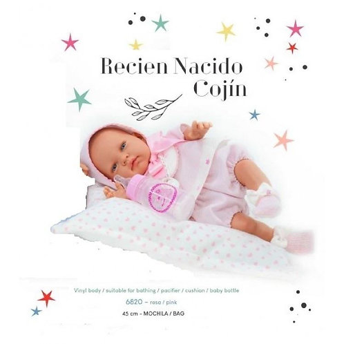 Pink Baby Doll with Cushion, Soother & Bottle