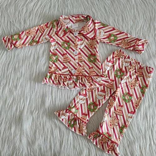 Girls Stripe Christmas Pyjamas