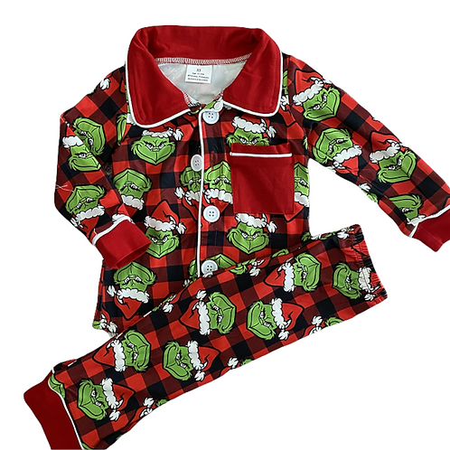 Boys Christmas Grinch Pyjamas (Style 1)