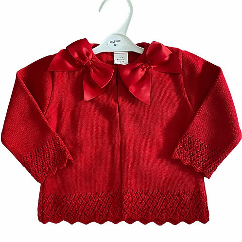 Red Double Bow Cardigan