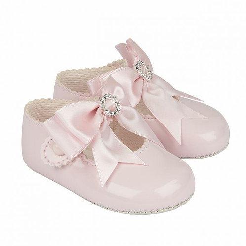Diamante Bow Pram Shoes (5 Colours)