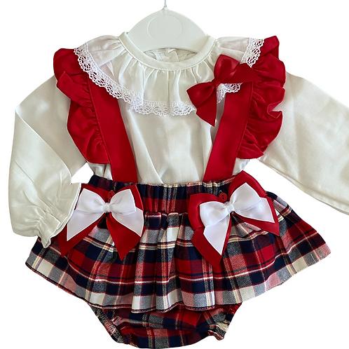 Tartan Double Bow Skirt Set