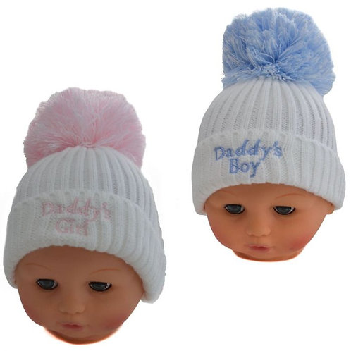 Daddy's Girl/Boy Cable Knit Pom Hats