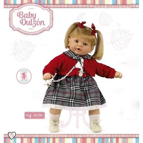 Grey Tartan Dress Large Girl Doll