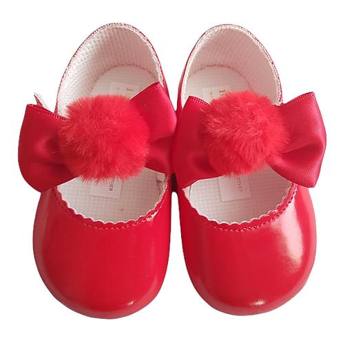 Red PomPom Pram Shoes