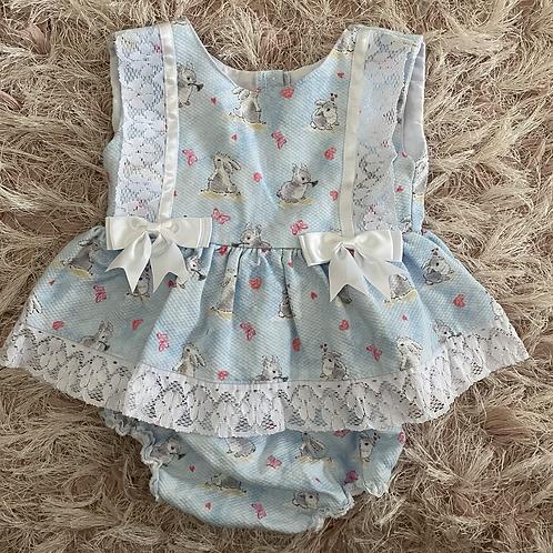 Blue Bunny Print Dress &  Pants