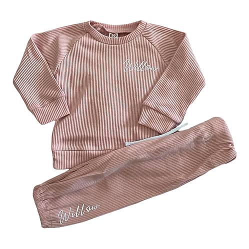 Personalised Pink Ribbed Tracksuit