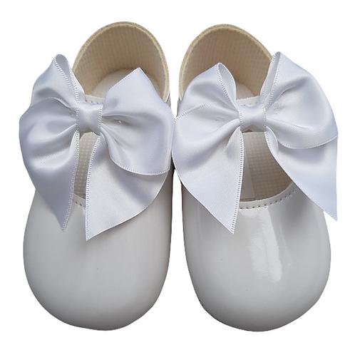 White Bow Pram Shoes