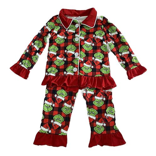 Girls Christmas Grinch Pyjamas (Style 1)