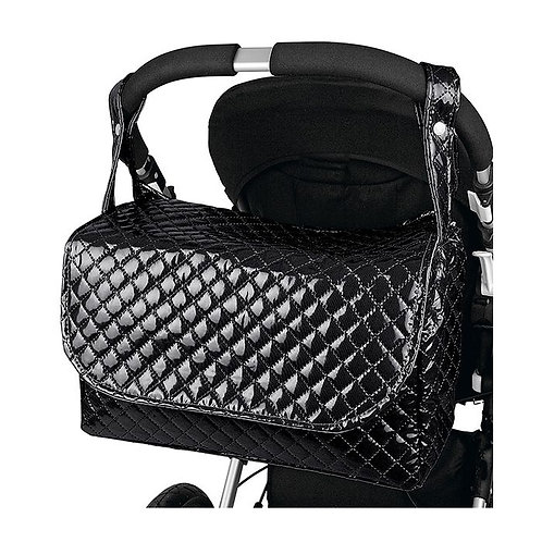 Black Quilted Patent Changing Bag