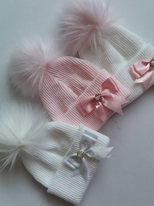 Diamanté Bow Fur Pom Hats