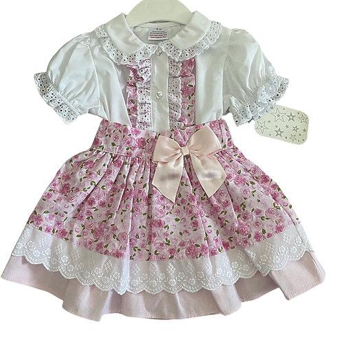 Blouse & Pink Floral Skirt Set
