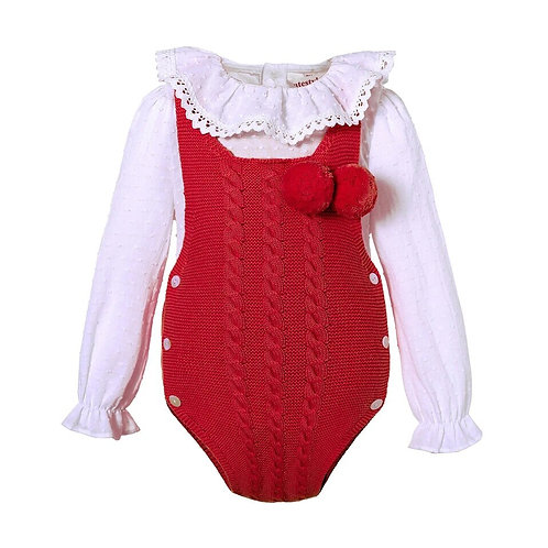 Knitted Baby Romper with Blouse