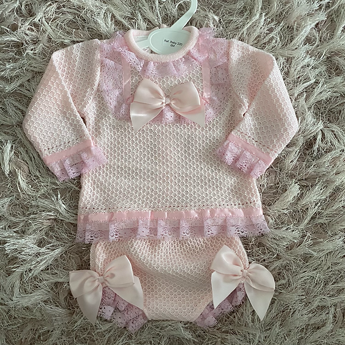 Pink Lace & Bows Knitted Set