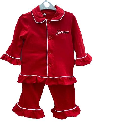 Personalised Frill Pyjamas (5 Colours)