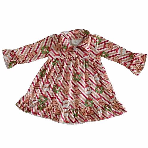 Girls Stripe Christmas Nightdress