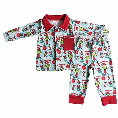 Boys Christmas Grinch Pyjamas (Style 2)