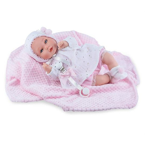 Crying Doll with Pink Blanket