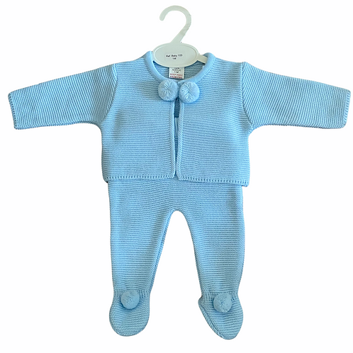 Blue Pom Pom Knitted 2Pce Set