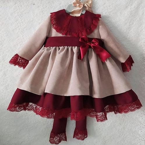 Sonata Golden Velvet & Burgundy Dress