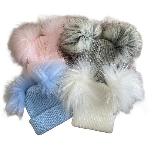 Babies Double Fur Pom Hats